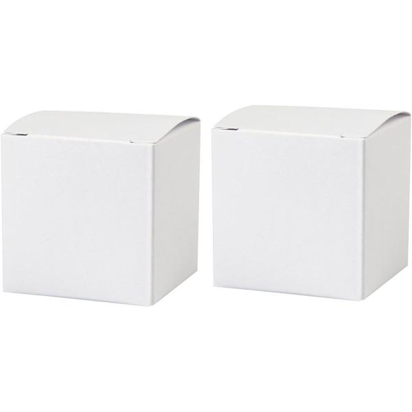 Boîtes Pliantes en carton - Blanc - 5,5 x 5,5 cm - 10 pcs - Photo n°1