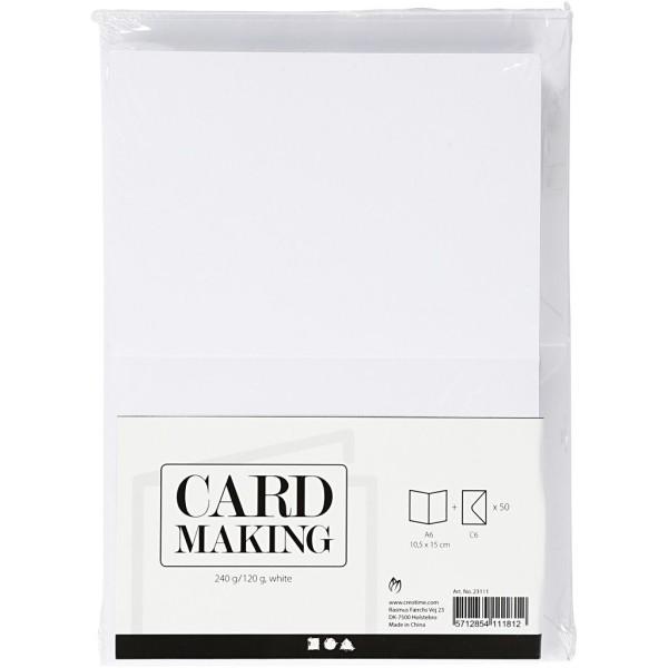 Assortiment cartes et enveloppes - 10,5 x 15 cm - Blanc - 50 sets - Photo n°2