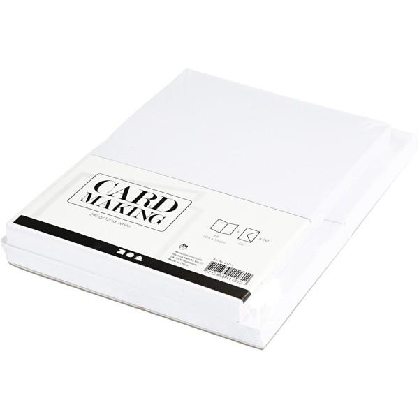 Assortiment cartes et enveloppes - 10,5 x 15 cm - Blanc - 50 sets - Photo n°3