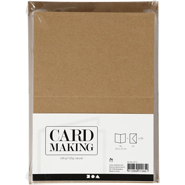 Assortiment cartes et enveloppes - 10,5 x 15 cm - Naturel - 50 sets - Photo n°2
