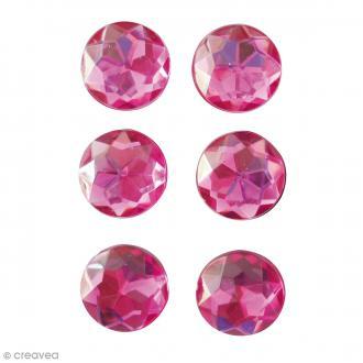 Mini magnets strass diamants - Rose fuchsia - 17 mm - 6 pcs