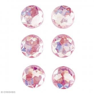 Mini magnets strass diamants - Rose - 17 mm - 6 pcs