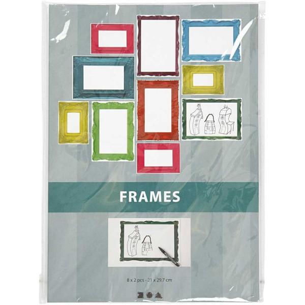 Papier cartonné à motifs cadres colorés - 26 x 18,5 cm - 16 pcs - Photo n°2