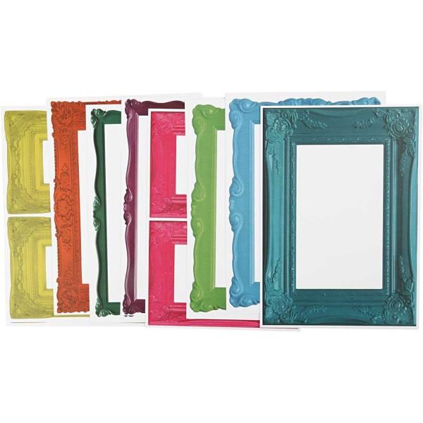 Papier cartonné à motifs cadres colorés - 26 x 18,5 cm - 16 pcs - Photo n°1