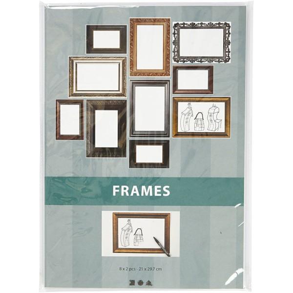 Papier cartonné à motifs cadres classiques - 26 x 18,5 cm - 16 pcs - Photo n°2