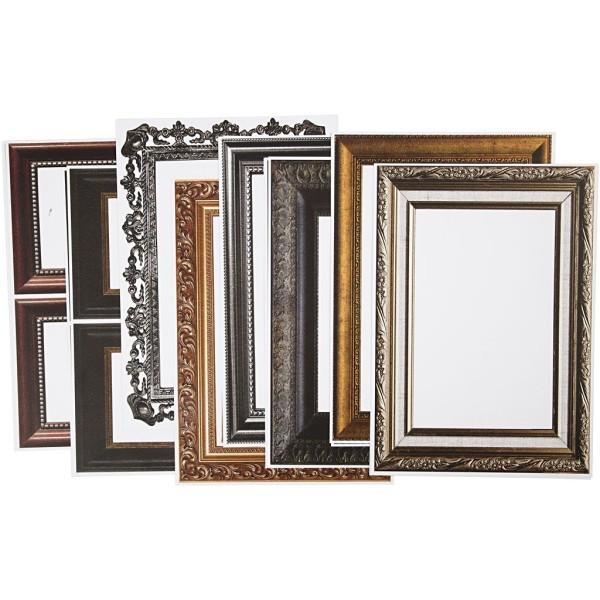 Papier cartonné à motifs cadres classiques - 26 x 18,5 cm - 16 pcs - Photo n°1