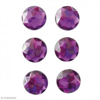 Mini magnets strass diamants - Violet - 17 mm - 6 pcs