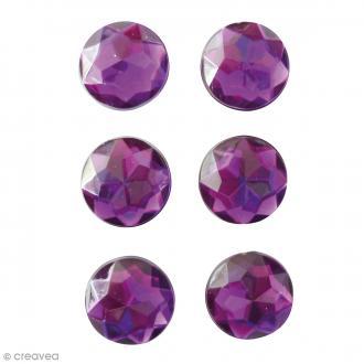 Mini magnets strass diamants - Violet - 17 mm - 6 pcs