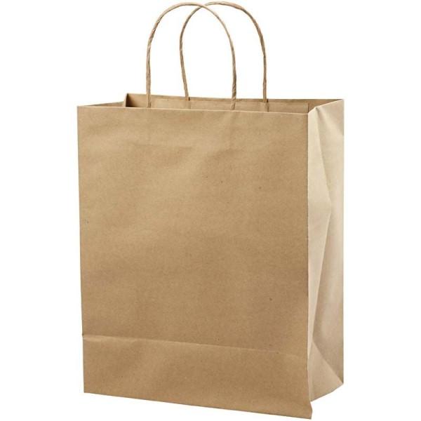 Sac en papier brun recyclé - 26 x 33 x 13 cm - 10 pcs - Photo n°1