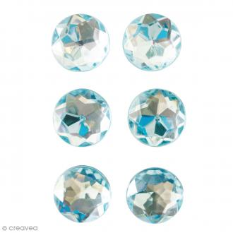 Mini magnets strass diamants - Bleu - 17 mm - 6 pcs