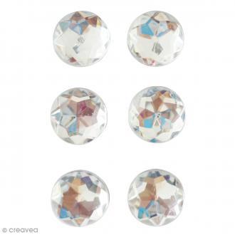 Mini magnets strass diamants - Blanc - 17 mm - 6 pcs