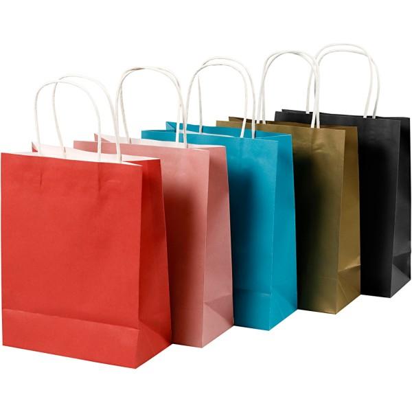Assortiment sac en papier - 23 x 18 x 9 cm - Multicolore - 10 pcs - Photo n°1