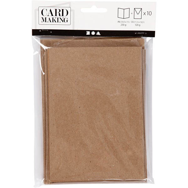 Cartes doubles et enveloppes - Papier recyclé - 10,5 x 15 cm - 10 pcs - Photo n°2