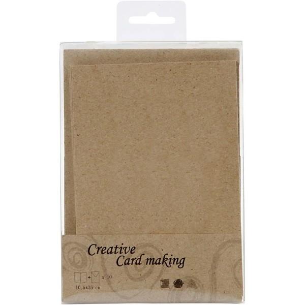 Cartes doubles et enveloppes - Papier recyclé - 10,5 x 15 cm - 10 pcs - Photo n°3