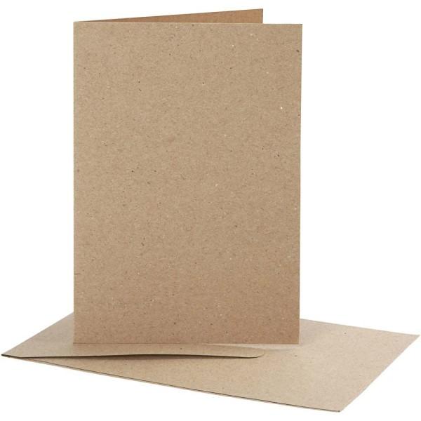 Cartes doubles et enveloppes - Papier recyclé - 10,5 x 15 cm - 10 pcs - Photo n°1