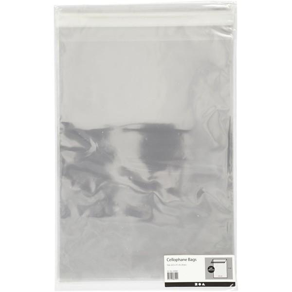 Sachets transparents plats à fermeture autocollante - 22,5 x 31,2 cm - 20 pcs - Photo n°2