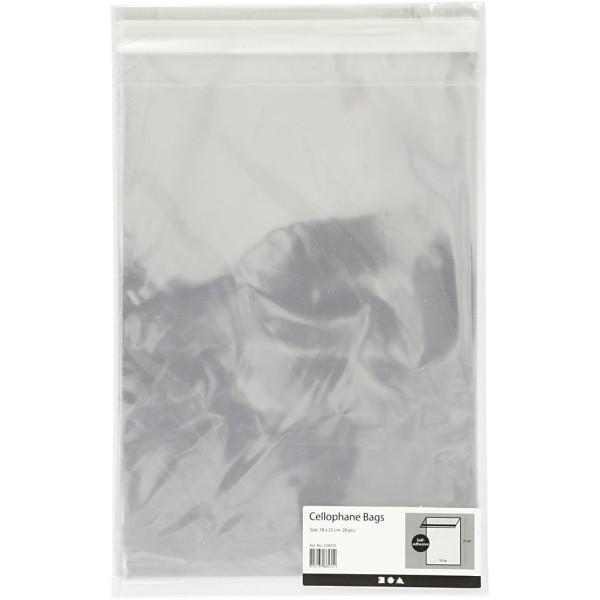 Sachets transparents plats à fermeture autocollante - 18 x 25,3 cm - 20 pcs - Photo n°2