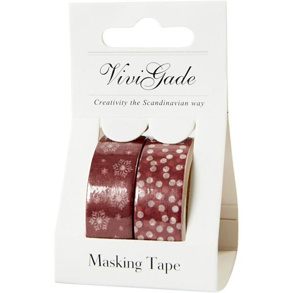 Set de masking tape - Flocons et Merry Christmas - 1,5 cm x 5 m - 2 pcs - Photo n°2