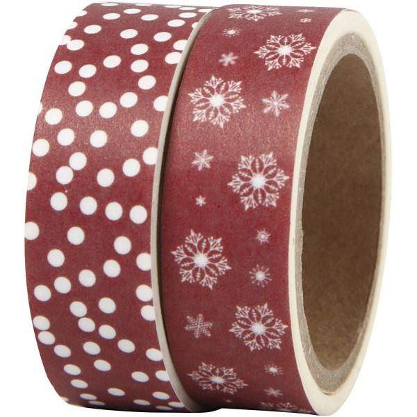Set de masking tape - Flocons et Merry Christmas - 1,5 cm x 5 m - 2 pcs - Photo n°1