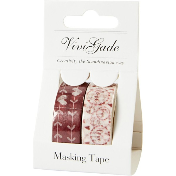 Set de masking tape - Coeurs et Love - 1,5 cm x 5 m - 2 pcs - Photo n°2