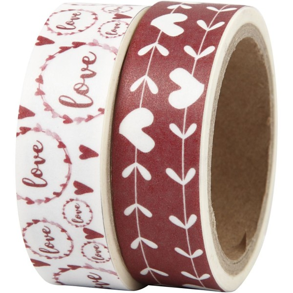 Set de masking tape - Coeurs et Love - 1,5 cm x 5 m - 2 pcs - Photo n°1