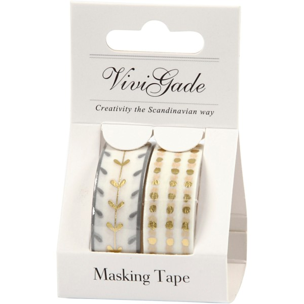 Set de masking tape - Or et blanc - 1,5 cm x 4 m - 2 pcs - Photo n°2