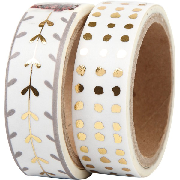 Set de masking tape - Or et blanc - 1,5 cm x 4 m - 2 pcs - Photo n°1