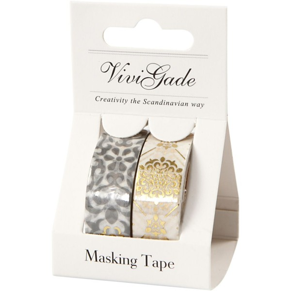 Set de masking tape - Carreaux et fleurs - 1,5 cm x 4 m - 2 pcs - Photo n°2
