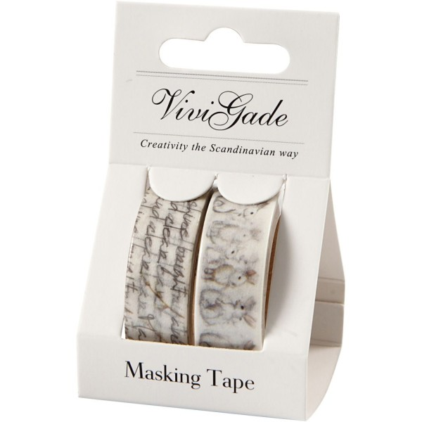Set de masking tape - Lapins et texte - 1,5 cm x 5 m - 2 pcs - Photo n°2