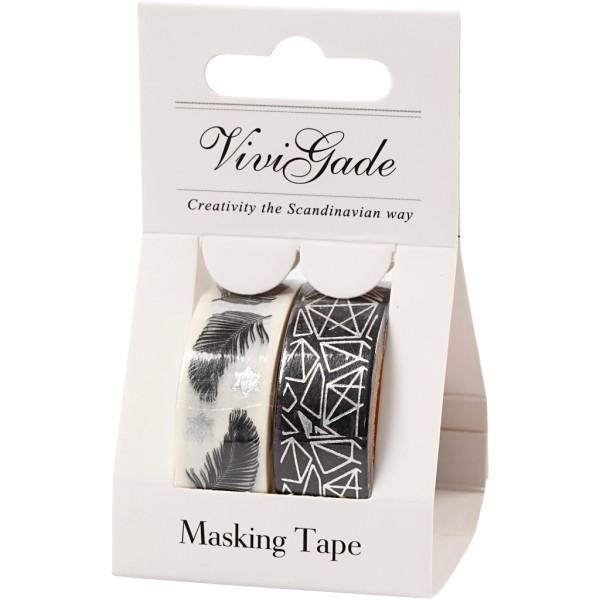 Set de masking tape - Plumes et motifs géométriques - 1,5 cm x 4 m - 2 pcs - Photo n°2