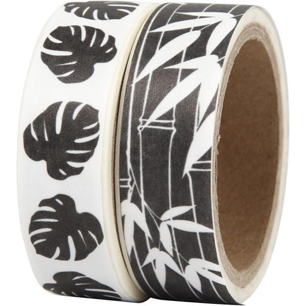 Set de masking tape - Feuilles Noir et blanc - 1,5 cm x 5 m - 2 pcs - Photo n°1