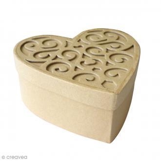 Boîte coeur en carton avec couvercle - 15 cm