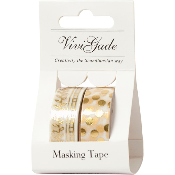 Set de masking tape - Pois et feuilles or - 1,5 cm x 4 m - 2 pcs - Photo n°2
