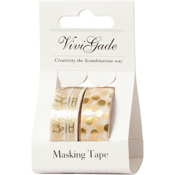 Set de masking tape - Pois et feuilles or - 1,5 cm x 4 m - 2 pcs - Photo n°2