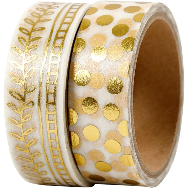 Set de masking tape - Pois et feuilles or - 1,5 cm x 4 m - 2 pcs - Photo n°1