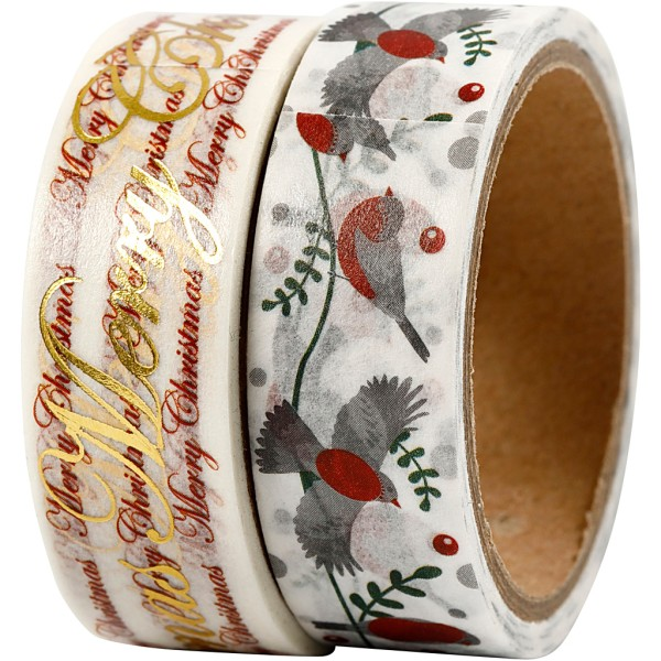 Set de masking tape - Oiseaux et Merry Christmas - 1,5 cm x 4 m - 2 pcs - Photo n°1
