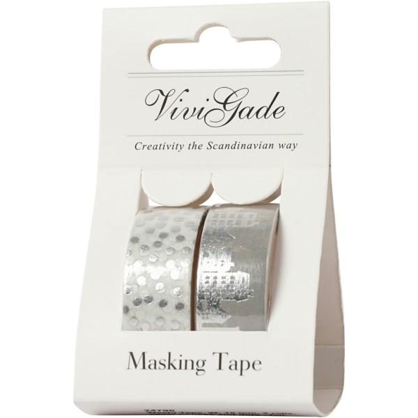 Set de masking tape - Maisons et pois argent - 1,5 cm x 4 m - 2 pcs - Photo n°2