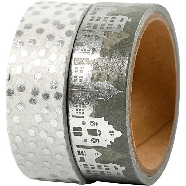 Set de masking tape - Maisons et pois argent - 1,5 cm x 4 m - 2 pcs - Photo n°1