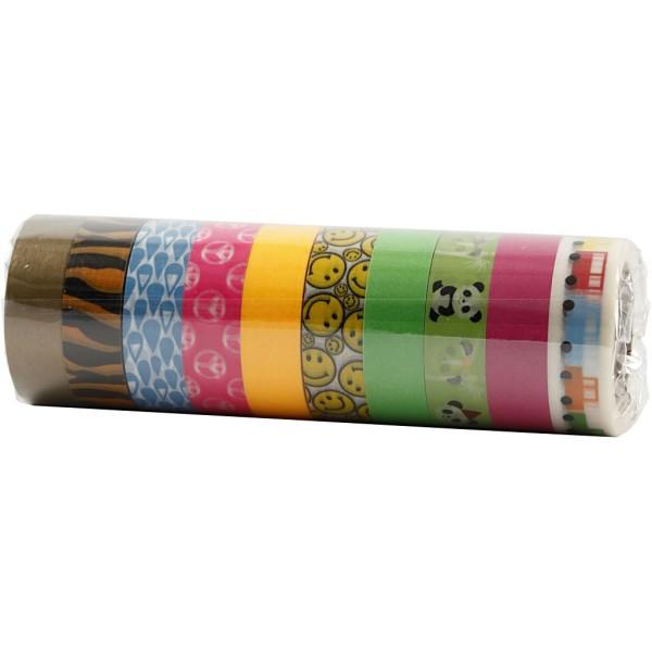 Assortiment de masking tape à motifs - Couleurs vives - 1,5 cm x 10 m - 10 pcs - Photo n°2
