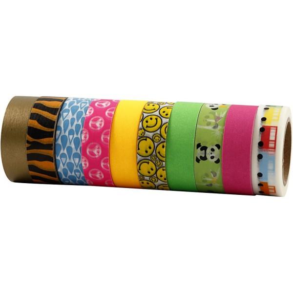 Assortiment de masking tape à motifs - Couleurs vives - 1,5 cm x 10 m - 10 pcs - Photo n°1