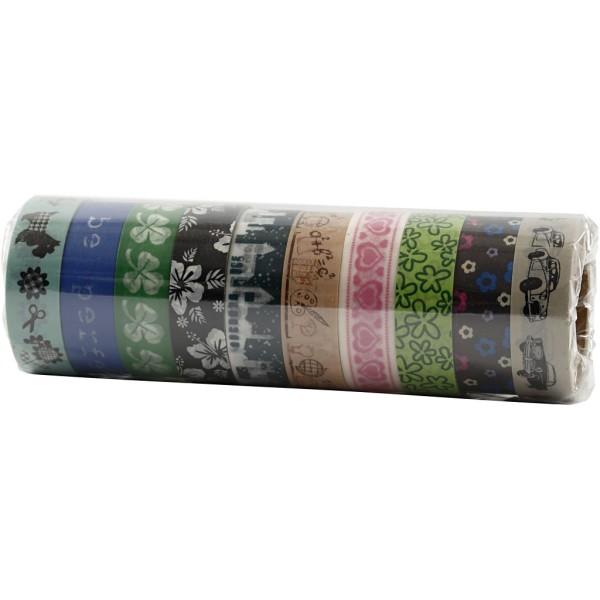 Assortiment de masking tape à motifs - Couleurs douces - 1,5 cm x 10 m - 10 pcs - Photo n°2