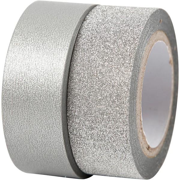 Assortiment Masking tape Argent - Métallisé et pailleté - 15 mm x 7 m - 2 pcs - Photo n°1