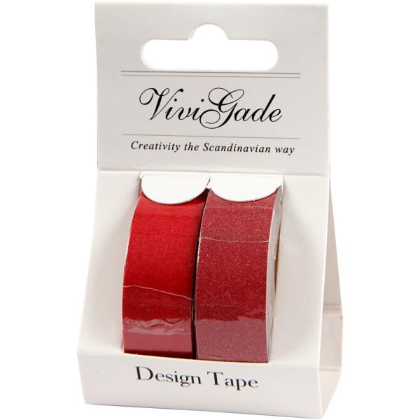 Assortiment Masking tape Rouge - Pailleté - 15 mm x 7 m - 2 pcs - Photo n°2