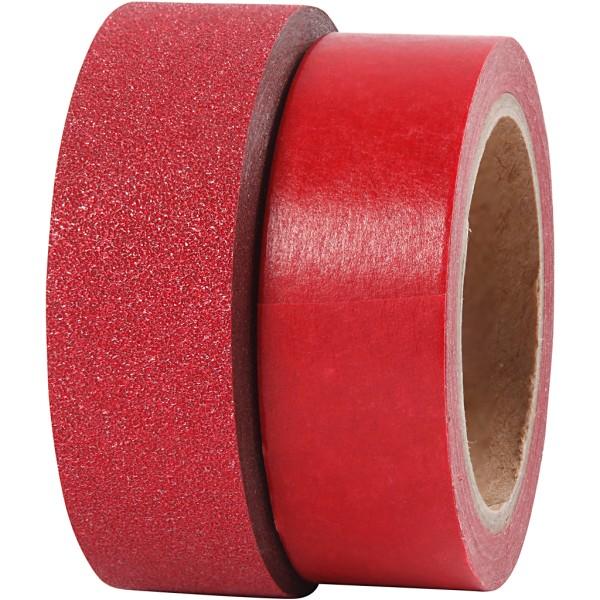 Assortiment Masking tape Rouge - Pailleté - 15 mm x 7 m - 2 pcs - Photo n°3
