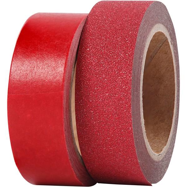 Assortiment Masking tape Rouge - Pailleté - 15 mm x 7 m - 2 pcs - Photo n°1