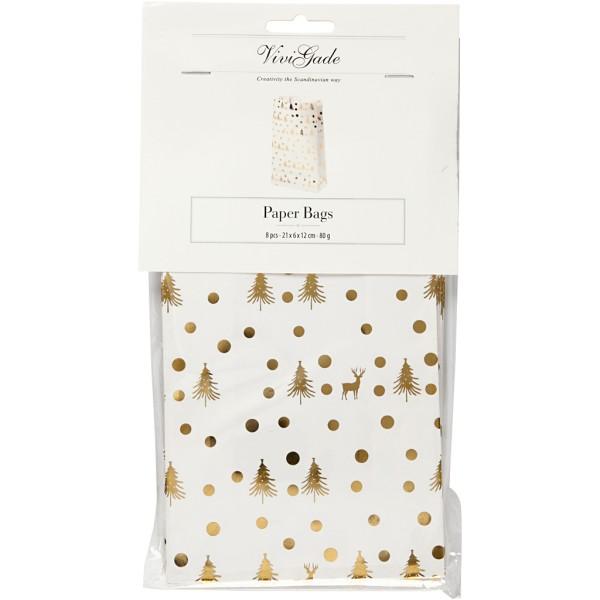 Sac cadeau en papier - Sapins et rennes dorés - 6 x 12 x 21 cm - 8 pcs - Photo n°2