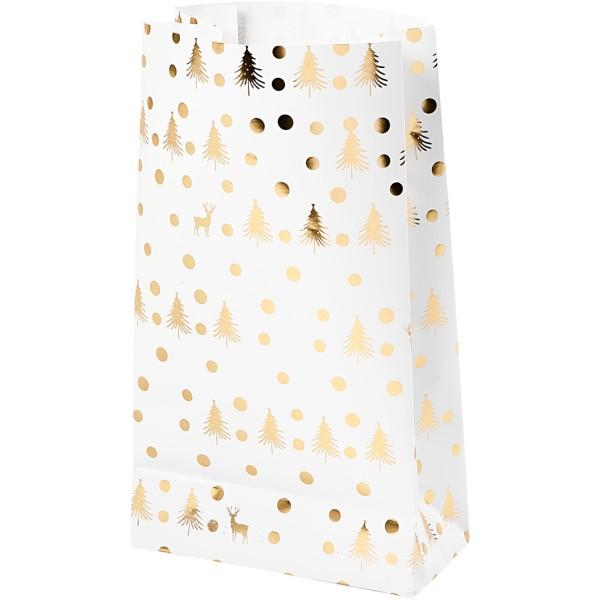 Sac cadeau en papier - Sapins et rennes dorés - 6 x 12 x 21 cm - 8 pcs - Photo n°1