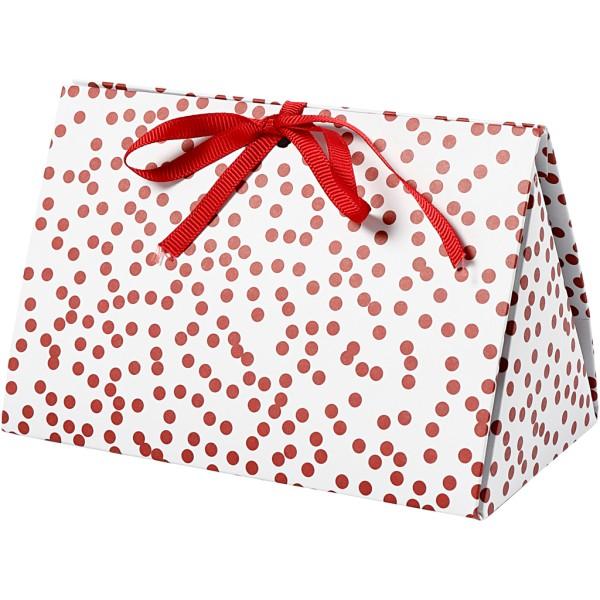 Boite cadeau - Pois rouges - 15 x 8 x 7 cm - 3 pcs - Photo n°1