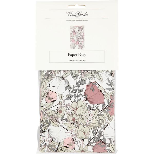 Sac cadeau en papier - 12 x 6 x 21 cm - Fleurs roses et beiges - 8 pcs - Photo n°2