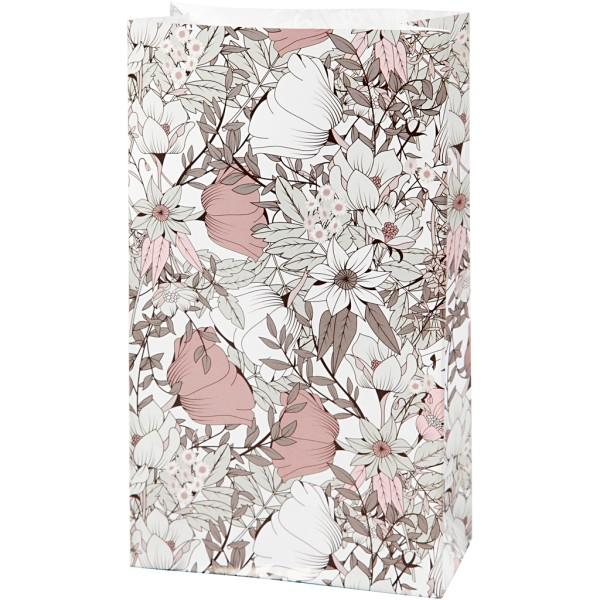 Sac cadeau en papier - 12 x 6 x 21 cm - Fleurs roses et beiges - 8 pcs - Photo n°1